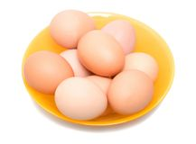 Eggs in glass bowl isolated Royalty Free Stock Images