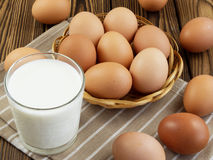 Eggs and a glass of milk Royalty Free Stock Photo