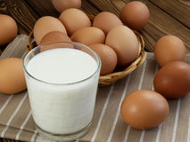 Eggs and a glass of milk Stock Photo