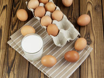 Eggs and a glass of milk Royalty Free Stock Images