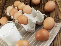 Eggs and a glass of milk Royalty Free Stock Image