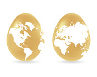 Eggs with global map pattern Royalty Free Stock Photo