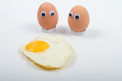 Eggs with googly eyes Royalty Free Stock Photography