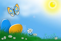 Eggs, grass, butterfly and blue sky Royalty Free Stock Photo
