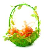 Eggs on a green basket Royalty Free Stock Photography