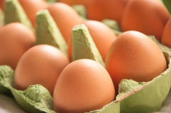 Eggs in green cartone diagonal perspective. Some eggs in green cartone close up diagonal perspective stock photography
