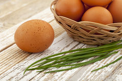 Eggs and green chive Royalty Free Stock Image