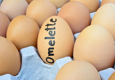 Eggs with handwriting word omelette on egg crate for food concep Stock Photography