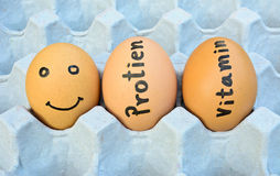 Eggs with handwriting words and face  for food concept Stock Image