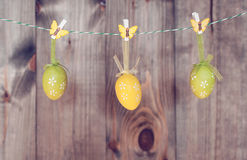 Eggs hanging on a string. Colorful eggs hanging on a string royalty free stock photos