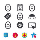 Eggs happy and sad faces signs. Easter icons. Eggs happy and sad faces icons. Crying smiley with tear symbols. Tradition Easter Pasch signs. Browser window Stock Images