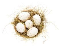 Eggs, hay in a bast basket. Isolated on white Royalty Free Stock Photo