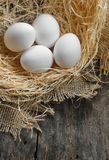 Eggs at hay nest Royalty Free Stock Photo