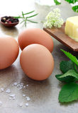 Eggs with herbs and butter Stock Photography