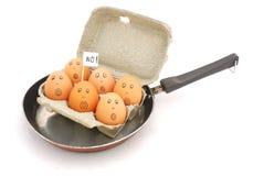 Eggs In Pan Stock Photo