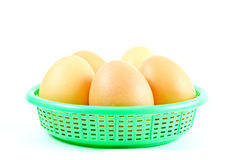 Eggs isolated on white background. Eggs on basket isolated on white background Royalty Free Stock Photos