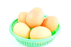 Eggs isolated on white background. Eggs on basket isolated on white background Stock Photo