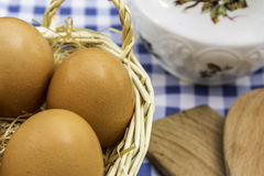 Eggs and Jug Of Milk. Still Life of a Basket of Eggs and a Jug of Milk Royalty Free Stock Photography