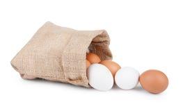 Eggs,jute bag Stock Photos