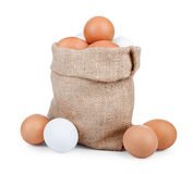 Eggs and jute bag Royalty Free Stock Images