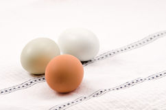 Eggs on kitchen linen Royalty Free Stock Photo