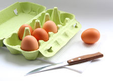 Eggs and knife stock image