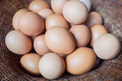 Eggs lay in wicker basket. Eggs laid in wicker basket Stock Photography