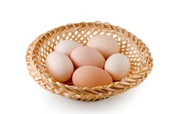 Eggs lay in a woven basket Royalty Free Stock Photo