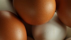 White and brown eggs. Eggs lie in a barn and are lit by sunlight