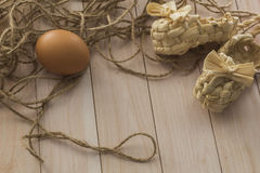 Eggs lie on a wooden table Stock Image