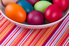 Eggs with  linen sack Stock Photo