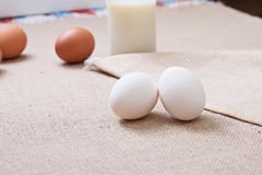 The eggs on a linen tablecloth. Household. Royalty Free Stock Photo