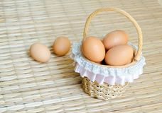 Eggs in little basket Stock Photography