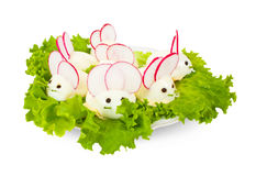 Eggs look like mouses. Stuffed eggs look like mouses on plate Stock Photography