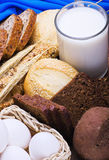 Eggs and a lot of different breads Stock Photography