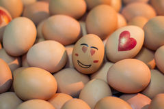 Eggs with in love face Royalty Free Stock Photography