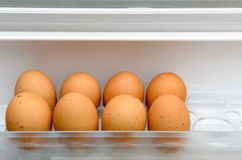 Eggs lying on a regiment in a refrigerator Lizenzfreie Stockfotografie