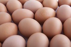 Eggs. Many fresh brown eggs for sale at a market Royalty Free Stock Photo