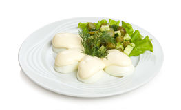 Eggs with mayonnaise. Cucumber, lettuce and dill Stock Photo