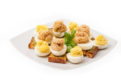 eggs with mayonnaise decorated Stock Images