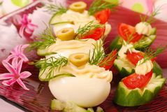 Eggs with mayonnaise for easter Stock Image