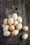 Eggs in a metal basket Royalty Free Stock Images