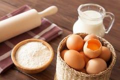 Eggs, milk and flour Royalty Free Stock Photo