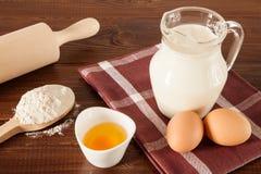 Eggs, milk and flour Royalty Free Stock Photos