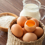 Eggs, milk and flour Royalty Free Stock Images