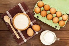 Eggs, milk and flour Royalty Free Stock Photography
