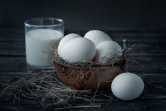 Eggs and milk Stock Image