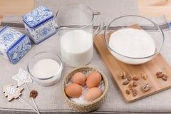 Eggs, milk, sugar, flour Stock Photo