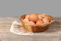 Eggs and money Stock Photography