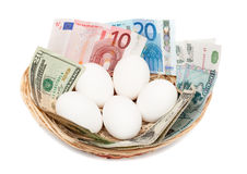Eggs with money in basket. Isolated on white background. Financial concept Stock Photos